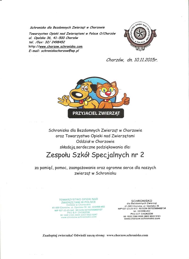 Schronisko-dyplom za pomoc.