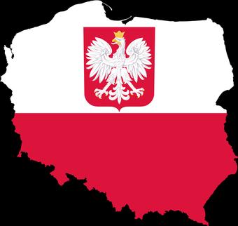 biało-czerwona mapa Polski.