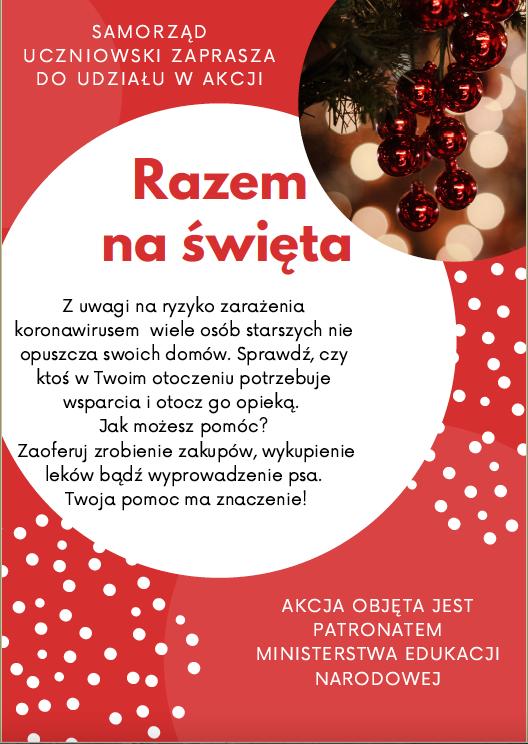 plakat Samorządu Szkolnego Razem na Święta