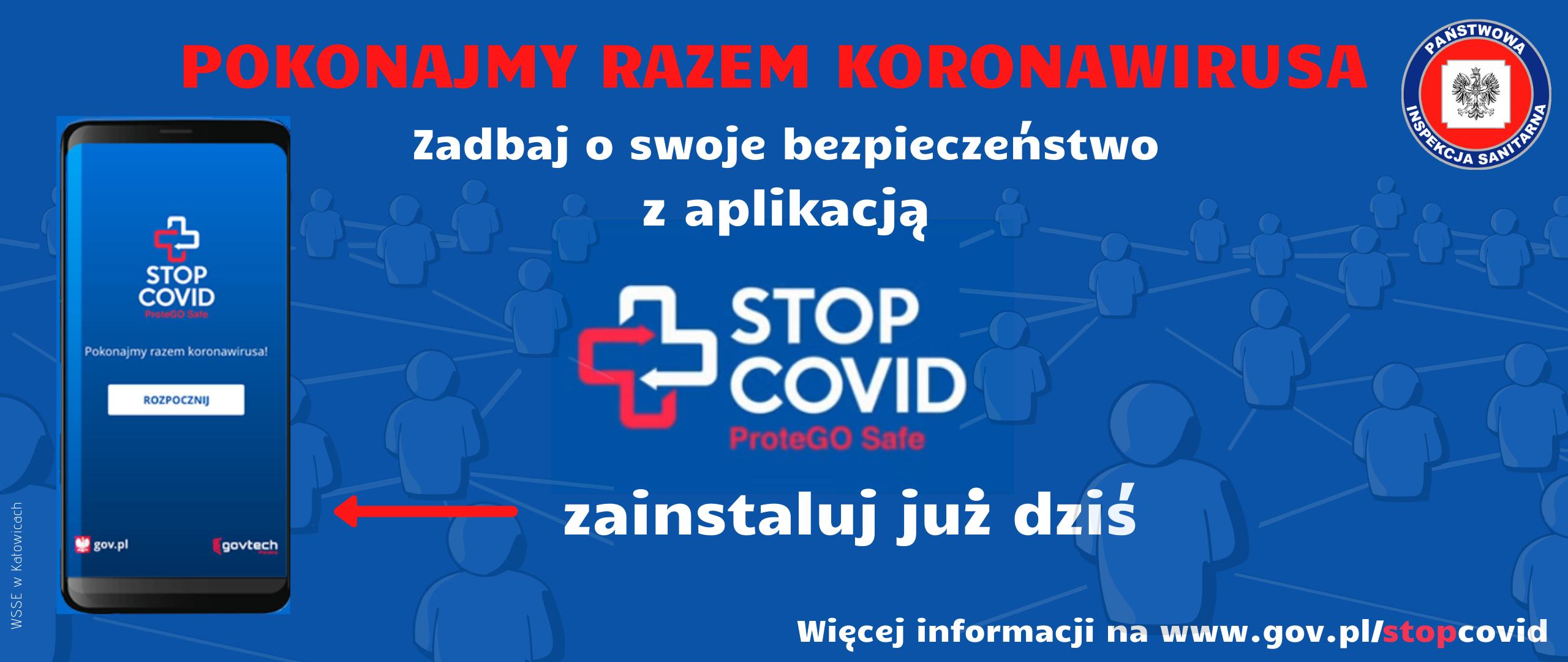 Baner aplikacji STOP COVID